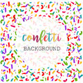Colorful Bright Confetti Banner Template. Abstract Background. Vector Illustration Royalty Free Stock Photo