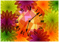 Colorful bright flowers and clock silhouettes Royalty Free Stock Photo