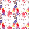 Colorful bright lovely comfort summer pattern of beach flip flops red crabs pastel cute seashells watercolor