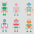 Colorful bright retro vector robots stickers collection Royalty Free Stock Photo