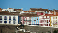 Colorful, bright view of houses in port, Angra do Heroismo