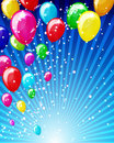 Colorful brightly backdrop with balloons. Stock Photos