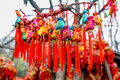 Colorful brocaded sachets were hung on branches as a sort of chinese traditional custom by people praying for blessing at chengdu Stock Photo