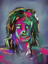 Colorful Brushstrokes Face - Digital Painting Stock Photo