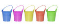Colorful buckets many isolated on white background Stock Photography