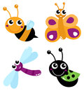 Colorful bugs mix vector cartoon illustration Royalty Free Stock Photography