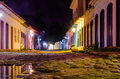 Colorful building streets at night Paraty Royalty Free Stock Photo