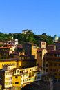 Colorful buildings along the bank of the arno river in florence italy Stock Images