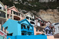 Colorful buildings in gibraltar of la caleta village Royalty Free Stock Photos