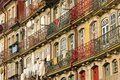 Colorful buildings in the old town porto portugal picturesque and with iron balconies cais da ribeira street by river douro Stock Photography