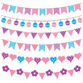 Colorful bunting flags and garlands vector Royalty Free Stock Photo