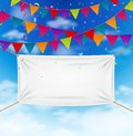 Colorful bunting flags with textile banner