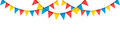 Colorful bunting party flags  on white background Royalty Free Stock Photo