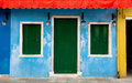 Colorful burano facade of house in venice italy Royalty Free Stock Images