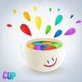 Colorful burst from a cup with smile Stock Photography