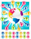 Colorful bursting planet and people icons illustration with earth Stock Photography