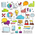Colorful business doodle set hand drawn isolated vector elements for infographic Stock Image
