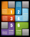 Colorful business print presentation template six numbered text boxes different colors arranged interlocking pattern to form Stock Photography