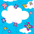Colorful butterflies flying on blue sky Royalty Free Stock Photo