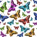 Seamless pattern of pink, red, green, yellow butterfly