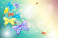 Colorful butterflies in a special paper illustration of the Royalty Free Stock Photos