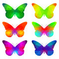 Colorful butterflies with triangular polygons set of geometric pattern Royalty Free Stock Photos