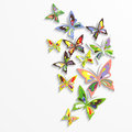 Colorful butterflies in the wave form design. Royalty Free Stock Photo