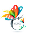 Colorful butterfly and flower, vector illustration.