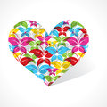 Colorful butterfly make a heart illustration of Stock Photo