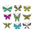 Colorful butterfly, set for your design Royalty Free Stock Photo