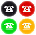 Colorful button with phone set of silhouette Royalty Free Stock Photos