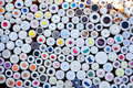 Colorful buttons display round boxes pattern Royalty Free Stock Images