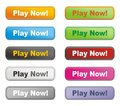 Colorful buttons - play now Royalty Free Stock Image