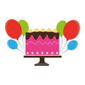 Colorful cake and balloons party birthday
