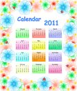 Colorful  calendar for 2011 with flowers Stock Image