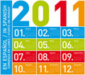 Colorful Calendar 2011 (Spanish) Stock Photography