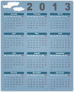 Colorful calendar for 2013 with cute clouds Royalty Free Stock Image