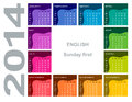 Colorful calendar english sunday first Royalty Free Stock Photography
