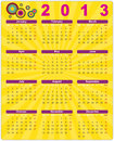 Colorful calendar in retro style for 2013 Royalty Free Stock Photography