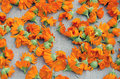 Colorful calendula blossoms on linen cloth Royalty Free Stock Photos