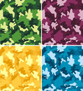 Colorful Camouflage Seamless Patterns Royalty Free Stock Photography