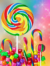 Colorful candies and sweets on a colored background Stock Photo