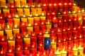 Colorful candles in glass red in the main