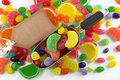 Colorful Candy Background with Blank Tag Stock Photography