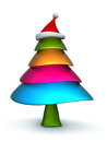 Colorful candy christmas tree with stanta hat d illustration Royalty Free Stock Images