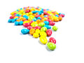 Colorful candy closeup chocolate to eat white background Royalty Free Stock Photos