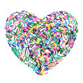 Colorful candy sprinkles heart isolated on white background Royalty Free Stock Photo