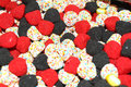 Colorful candy sweets overhead view of red black and white Royalty Free Stock Photos