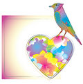 Colorful card with blue bird and heart Stock Photo