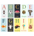 Colorful cards with alphabet and image of the first letter of th Royalty Free Stock Photo